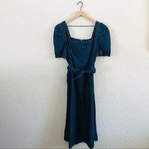 Who What Wear Denim Puff Sleeve Zip Back Dress